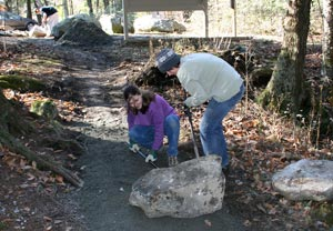 Volunteers working on trail improvements